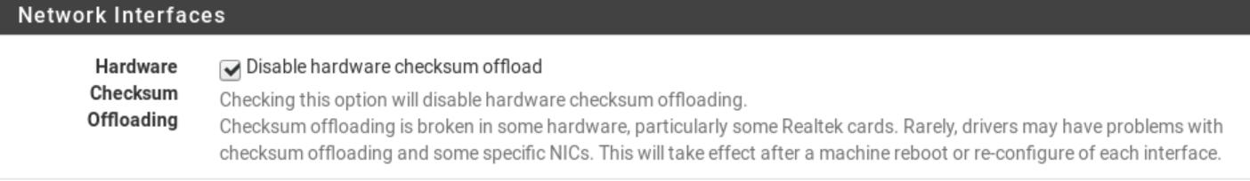 Pfsense Disable Hardware Checksum Offload